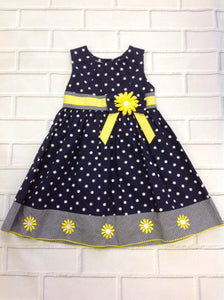 Blueberi Boulevard Navy Print Polka Dot Dress