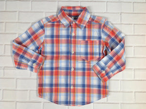 Carters BLUE & ORANGE Plaid Top