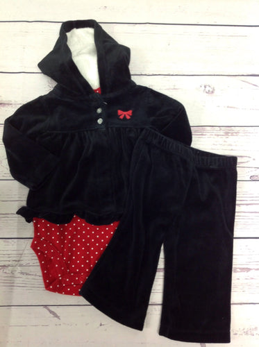 Carters Black & Red 3 PC Outfit