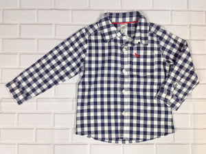 Carters Blue & White Checkered Top