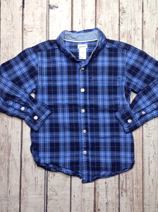 Carters Blue Print Plaid Top