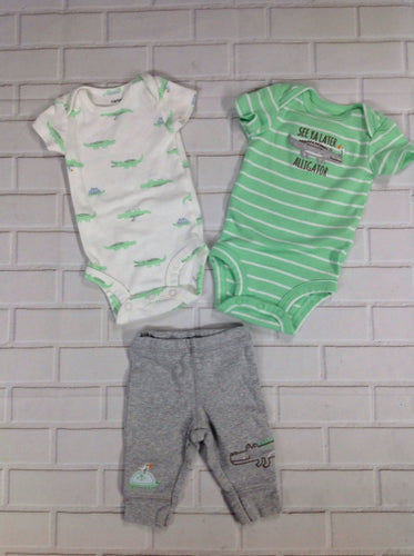 Carters Gray & Green 3 PC Outfit