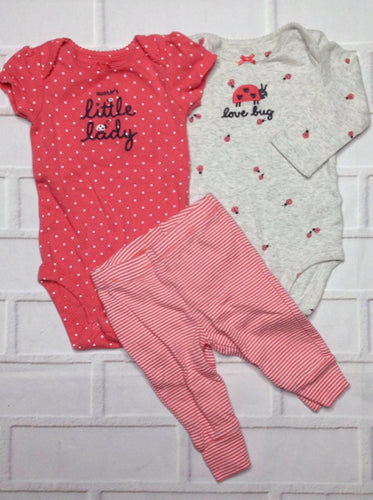 Carters Gray & Pink 3 PC Outfit