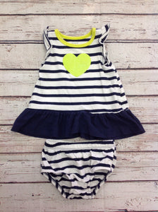 Carters Navy & White Dress