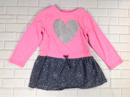 Carters Pink & Gray Heart Dress