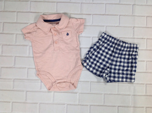 Carters Pink & Navy 2 PC Outfit