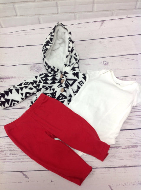 Carters Red & Black 3 PC Outfit