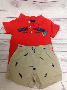 Carters Red & Tan 2 PC Outfit