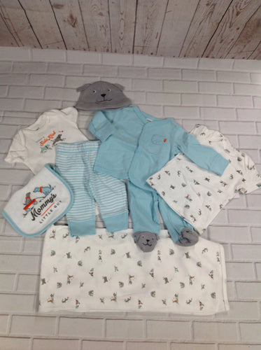 Carters White & Baby Blue 4 PC Outfit