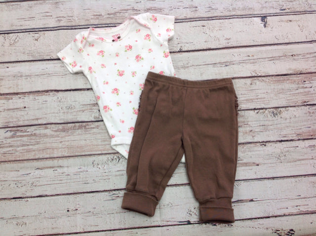 Carters White & Brown 2 PC Outfit