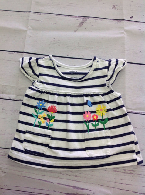 Carters White & Navy Top