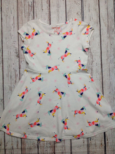 Cat & Jack Off-White Print UnicornDress