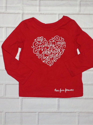 Cat & Jack Red & White Heart Top