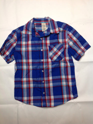 Faded Glory Blue & Red Plaid Top