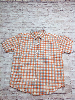 Faded Glory ORANGE & WHITE Checkered Top