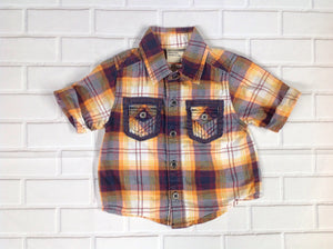 GENUINE BABY BROWN & ORANGE Plaid Top