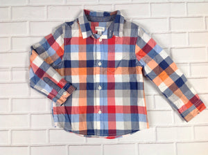 Gymboree BLUE & ORANGE Checkered Top