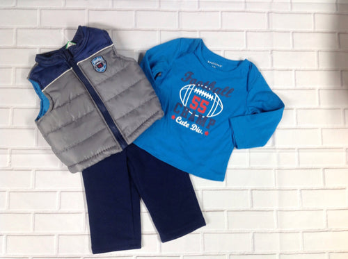Healthtex BLUE & GRAY 3 PC Outfit
