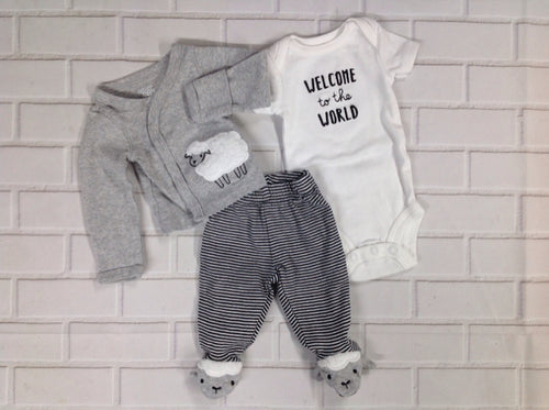 JUST ONE YOU GRAY & WHITE 3 PC Outfit