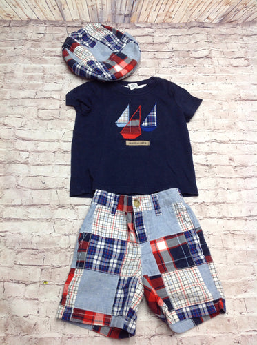 Janie & Jack Blue & Red 3 PC Outfit