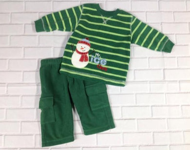Just One Year Green Print Snowman 2 pc set
