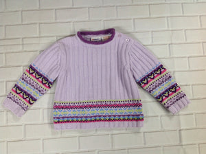 Kid Connection Purple Print Sweater