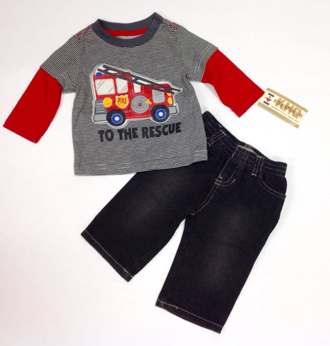 Kids Headquarters GRAY & RED 2 PC Outfit