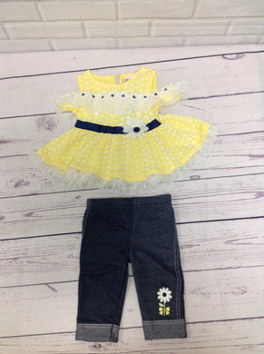 Little Lass Denim & Yellow 2 PC Outfit