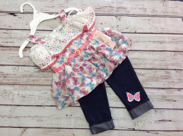 Little Lass White & Pink 2 PC Outfit
