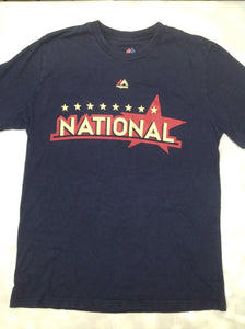 MAJESTIC Navy Print Nationals Top