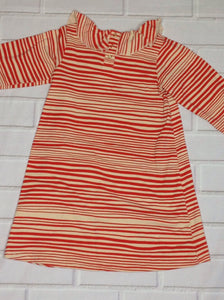 MINI RODINI Burnt Orange & Beige Stripe Dress