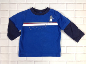 Okie Dokie Blue Print Top