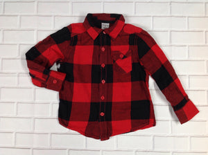 Okie Dokie Red & Black Plaid Top