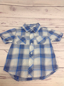 Old Navy Blue & White Checkered Top