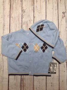 PIPER & POSIE Baby Blue & Brown Sweater