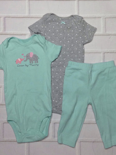 Simple Joy LIGHT GREEN & GRAY 3 PC Outfit