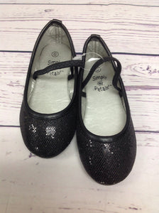 Simply Petals Black Glitter Shoes