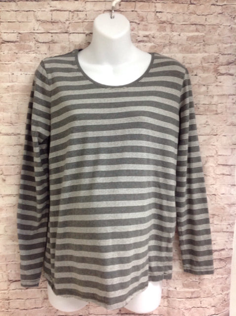 Size Large Oh Baby GRAY & WHITE Stripe Top
