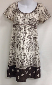 Size Large Oh Mamma BROWN & CREAM Floral Dress