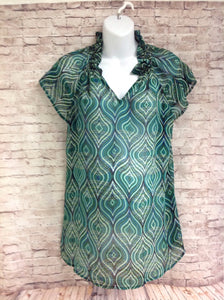 Size Medium Duo Maternity Green Diamonds Top