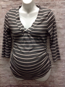 Size Medium Oh Baby GRAY & WHITE Stripe Top