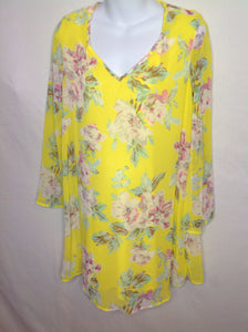 Size Medium PINK BLUSH Yellow Print Floral Dress