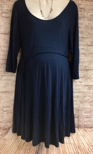 Size XL Motherhood Blue Solid Dress