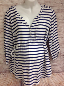 Size XL Motherhood White & Blue Stripe Top