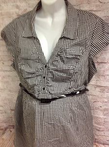 Size XL Two Heart Maternity BLACK & WHITE Checkered Top