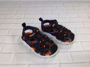 Skechers Black & Orange TODDLER BOY Sandals