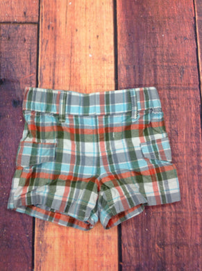 The Children's Place Orange & Green Plaid Shorts