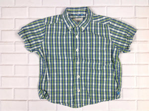 The Place Green & Blue Plaid Top