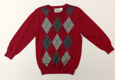The Place RED & GRAY Argyle Sweater