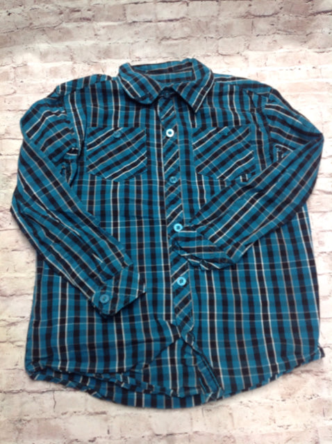 Toughskins BLUE & BLACK BUTTON UP Top